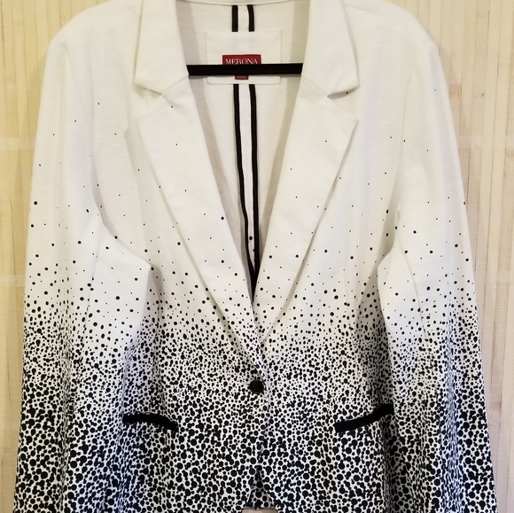 c255e2041d1ed ... THIS ITEM IS SOLD! Womens plus knit blazer black and white dot.  M_5c1b9c16f63eeadc677f84a7